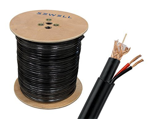 Sewell Direct SW-30383 Bulk Direct Burial Outdoor RG6 and Power Siamese Cable, Bare Copper, PE Jacket, 1000-Feet Spool