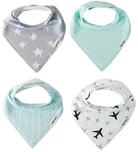 Baby Bandana Drool Bibs 4 Pack Gift Set for Boys (Sky Set) for Teething and Drooling by Jasper & Gold ()