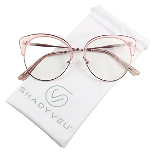 ShadyVEU - Semi Rim Lightweight Cat Eye Oversize XL Clear Lens RX Frame Sun Glasses (Pink, - Slight Sunglasses Cat Eye