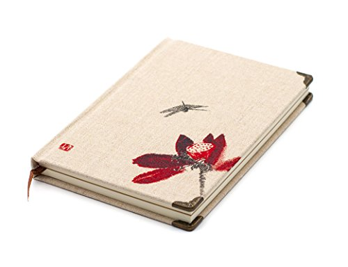 Classic Vintage Chinese Painting Style Diary Notebook Natural Linen Color Hard Cover 7.5 5.1 Inches 98 Sheets Journal (Cream-Dragonfly1) by FX