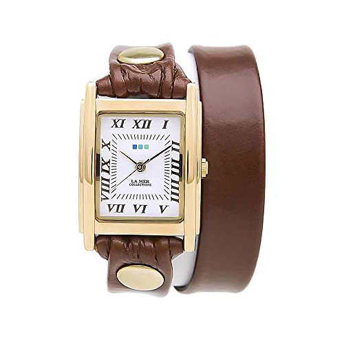 Collection Brown Leather Watch (La Mer Brown and Gold Leather Double Wrap Watch)