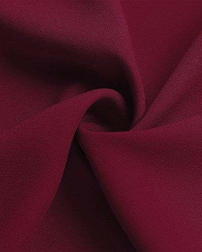 Blouse Fluide N Soie ud Chemise Col Cravate Femme Et Manches Tunique Mousseline Auxo V Bordeaux Longues de B0Sqv8