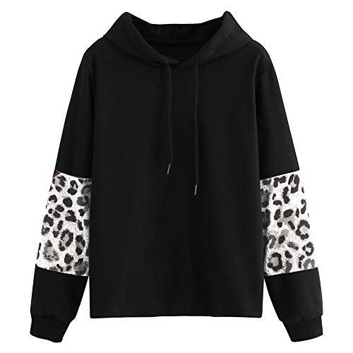 KFSO Women's Leopard Long Sleeve Hoodie Color Block Pullover Sweatshirt Blouse Tops (Black, XL) ()