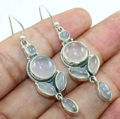 (Kanika Jewelry Trove Natural Rose Quartz Gemstone 925 Silver Earrings)