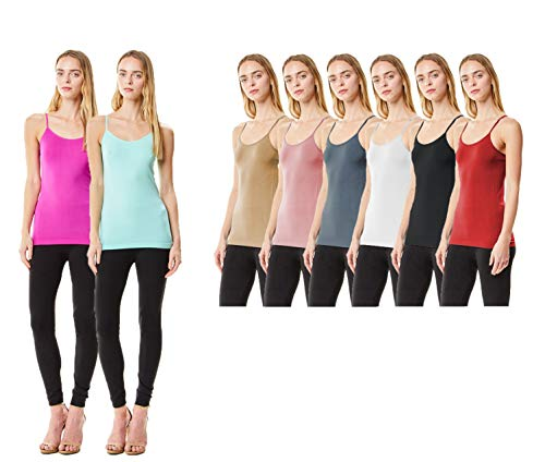 (MoDDeals Women's Plus Size Seamless Camisole Tank Top Spaghetti Strap Layering Value Pack (12 Pack) (1X, Bright Combo))