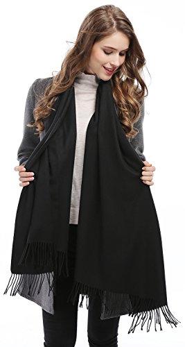 Women Solid Soft Cashmere Feel Shawl Wrap Stole,Black