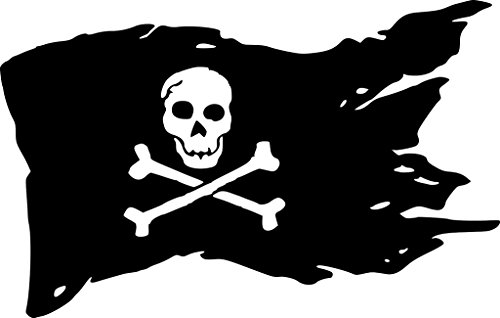 Pirate Flag Decal Vinyl Sticker|Cars Trucks Vans Walls Laptop| Black|7.5 x 4.75 in|CCI1275