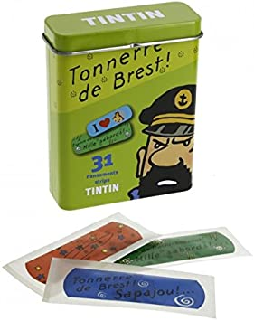 Caja metálica verde con tiritas de Tintín (16016): Amazon.es: Electrónica