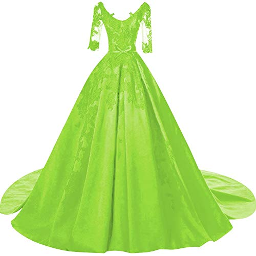 SUNFURA Women's Lace Ball Gown Half Sleeves Prom Evening Wedding Dress with Bow US12 Lime Green