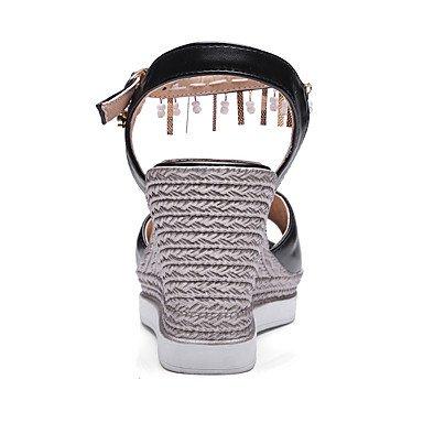 LvYuan Mujer Sandalias Zapatos formales Semicuero Primavera/Otoño Temporadas Cruzadas Boda Zapatos formales Pedrería Cuentas Tacón CuñaBlanco White