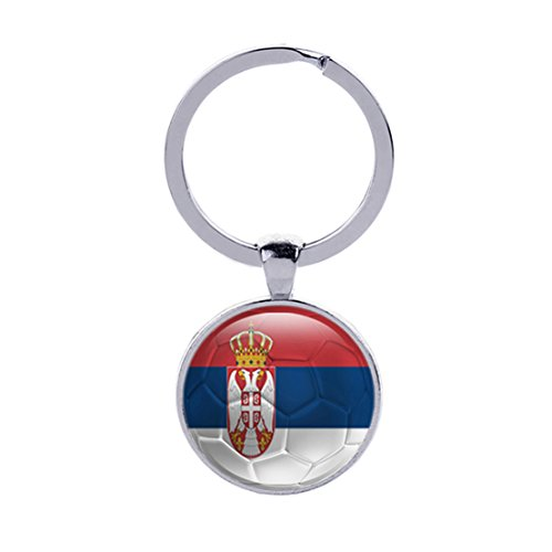 Tfoddy 2018 FIFA National Fag and World Cup Double Sided Key Ring (Serbia) (Serbia World Cup)