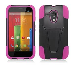 Quaroth - Black/Hot Pink Shockproof Dual Layer Hybrid Kickstand Case + Atom LED Keychain Light for Motorola Moto G