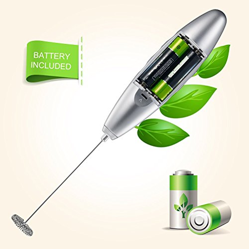 Bonsenkitchen Electric Milk Frother, Automatic Milk Foam Maker for Bulletproof Coffee, Matcha, Stainless Steel Whisk Battery Operated Mini Drink Mixer Blender