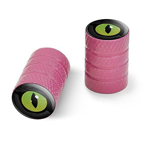 オートバイ自転車バイクタイヤリムホイールアルミバルブステムキャップ - ピンク猫の緑の目
