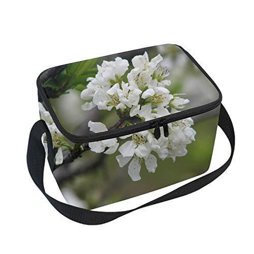 Plum Tree Blossom Picnic Storage Bag Lunch Box Food Bag Cooler Warm Pouch Tote Bag for School Work Office