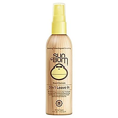 Sun Bum Beach Formula 3-in-1 Leave-In Hair Conditioner Spray, 4 oz Spray Bottle, 1 Count, Detangler, UV Protection, Paraben Free, Gluten Free, Vegan, Color Safe
