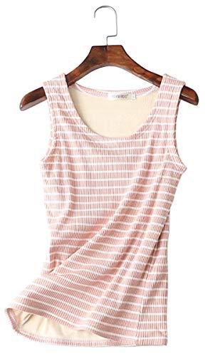 Women's Fleece Lined Thermal Sleeveless Underwear Cami Tank Top Pink M (US 0) (Underwear Cami)