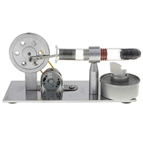 DYNWAVE Hot Air Stirling Engine, Solid Metal Construction, Electricity Generator with Colorful LED Light