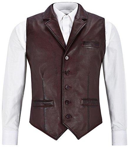Andy Chaleco de cuero real de los hombres Moda clásica de estilo tradicional ligero 1349 Cherry