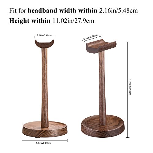 Wooden Headphone Stand Headset Holder Hanger AhfuLife Stand with Cable Holder for Sony, Bose, Shure, Jabra, JBL, AKG, Gaming Headset and Earphone Display (Walnut Color)