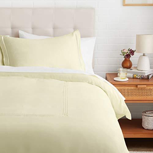 Amazon Basics Embroidered Hotel Stitch Duvet Cover Set – Soft, Easy-Wash Microfiber – Twin/Twin XL, Aloe Green