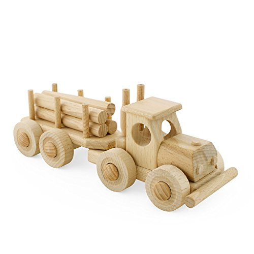 Handcrafted Wooden Truck with Trailer and Removable Timber Pieces - Pretend Play Construction Building Montessori Toy- Max (Handmade in Europe)