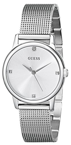 GUESS Women's U0532L1 Silver-Tone Mesh Watch with Self-Adjustable Bracelet