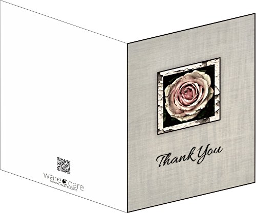 Funeral Memorial Service Thank You Cards & Envelopes (Rose Design)