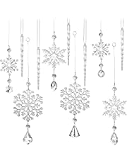 12 Pieces Christmas Snowflake Drop Ornament Acrylic Icicle Christmas Hanging Acrylic Crystal Snowflake Decoration Hanging Acrylic Snowflake for Christmas Tree New Year Party