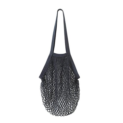 - Dreamyth Shopping Bag Mesh Durable Reusable Fruit String Grocery Shopper Cotton Tote Mesh Woven Net Shoulder Bag (Black)