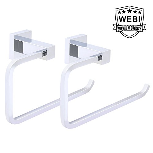 WEBI BRASS Towel Ring Holder, Towel Rack, Towel Hanger - for Hand Bath Guest Bathroom Towel - Wall Mounted, Chrome Finish, (MJG1-2), 2 Packs