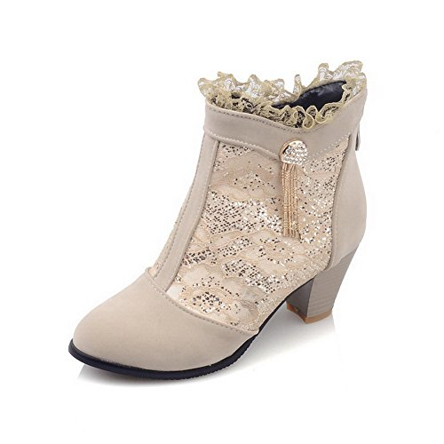 Allhqfashion Mujeres Kitten-heels Soft Material Low-top Solid Botas Con Cremallera Beige