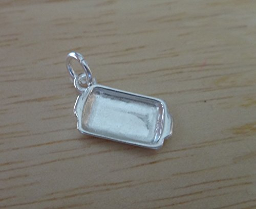 (Sterling Silver 3D Small 14x7mm Realistic Casserole Pan Cooking Charm Jewelry Making Supply, Pendant, Sterling Charm, Bracelet, Beads, DIY Crafting and Other by Wholesale Charms)