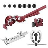 Simoner Tubing Bender Cutter, Double Flaring Tool Kit, 3 Way Brake Water Gas Line Plumbing Automotive Flare Repair Tool Set