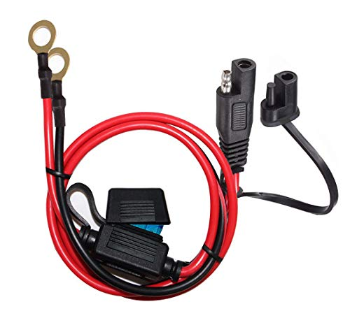 YETOR SAE to O Ring Terminal Harness, with 15A Protection Fuse for Safety, 2-Pin Quick Disconnect Plug,SAE Battery Extension Cable with 2FT 10AWG for Motorcycle Cars. (10awg Terminal)