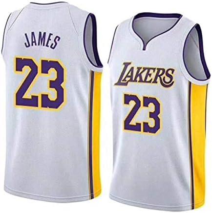 23#レイカーズジェームスジャージ、男子ファンバスケットボールノースリーブTシャツ、優れた汗吸収-White-3-S