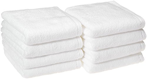 AmazonBasics Quick-Dry Hand Towels, 100% Cotton, Set of 8, White