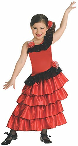 Child's Red and Black Spanish Princess Costume,