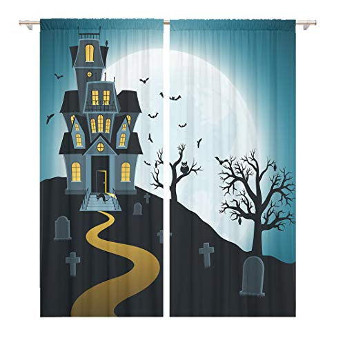Tinmun 104 x 84 Inch Decorative Drapes House Halloween Tombs Trees Bats Tombstones Gravey Spooky Cartoon 2 Panels Window Curtains for Living Room Bedroom Printed -