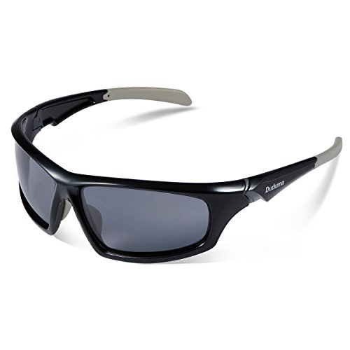 Duduma Tr601 Polarized Sports Sunglasses for Baseball Cycling Fishing Golf Superlight Frame (639 Black frame with black lens)