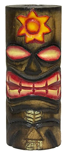 World Shells 6 Inch Tall Hand Carved, Hand Painted Tiki Totem Pole - Sun