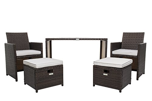 Wicker Furniture Set, Chicreat 5 PC Set with Table Chairs and Ottomans , Brown Rattan with Olifen Cushioned Seats (Chair Rattan)