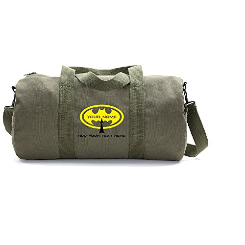 Personalized Custom Batman Heavyweight Canvas Duffel Bag, Olive & Yellow (Large) For Sale