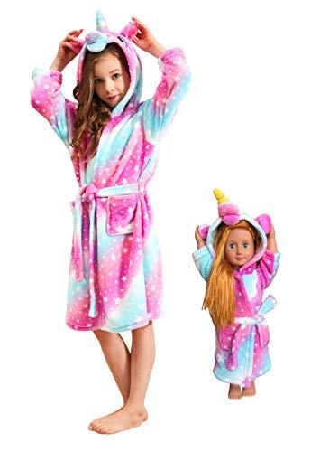 Soft Unicorn Hooded Bathrobe Sleepwear for Matching Doll & Girls (Pink Galaxy, 10-11 Years)