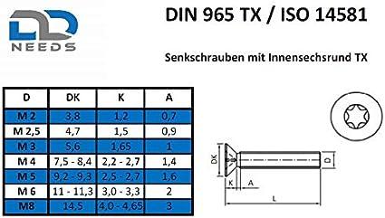 VPE: 10 St/ück Senkschrauben Gr/ö/ße M3 x 18 mm mit Vollgewinde und TX ISO 14581 // DIN 965 aus Edelstahl A2 V2A D2D Senkkopfschrauben