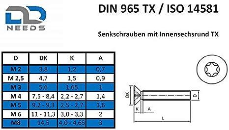 Senkkopfschrauben ISO 14581 // DIN 965 aus Edelstahl A2 V2A Senkschrauben Gr/ö/ße M3 x 12 mm mit Vollgewinde und TX D2D VPE: 50 St/ück