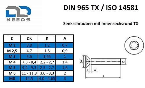 VPE: 20 St/ück Senkkopfschrauben Senkschrauben Gr/ö/ße M4 x 8 mm mit Vollgewinde und TX D2D ISO 14581 // DIN 965 aus Edelstahl A2 V2A