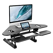 "Mount-It! Corner Standing Desk Converter, 48"" Wide Adjustable Height Tabletop Sit Stand up Desk for Cubicles, Removable Spacious Keyboard Tray Platform"