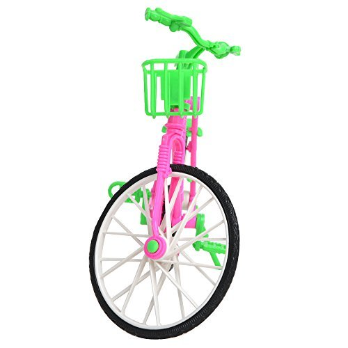 Lanlan 1pcs Green Plastic Simulation Mini Detachable Bike Toy With Basket For Barbie Doll House Accessories Kid Birthday Christmas New Year Gift (Dollhouse Bicycle)