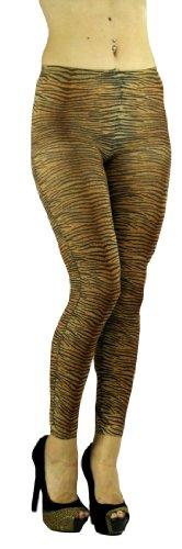ToBeInStyle Women's Elastic Animal Print Footless Leggings - One Size - Tiger Brown/Orange (Tiger Print Pantyhose)